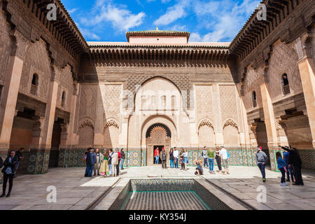 MARRAKECH, MOROCCO - FEBRUARY 22, 2016: The Ben Youssef Medersa is an Islamic college, the largest Medrasa in Morocco. - Stock Photo