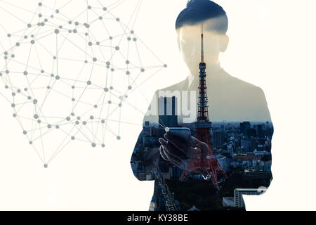 Mobile communication network concept. Abstract double exposure. - Stock Photo