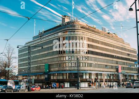 Helsinki, Finland - December 10, 2016: View Of Original Sokos Hotel In Winter Sunny Day - Stock Photo