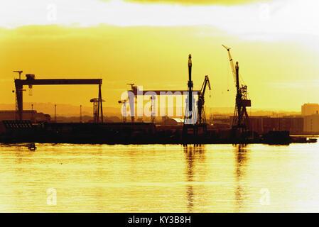 belfast heabour at sunset - Stock Photo