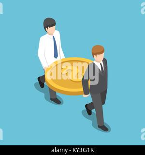 Flat 3d isometric two businessman carrying big dollar coin. teamwork and financial concept. - Stock Photo