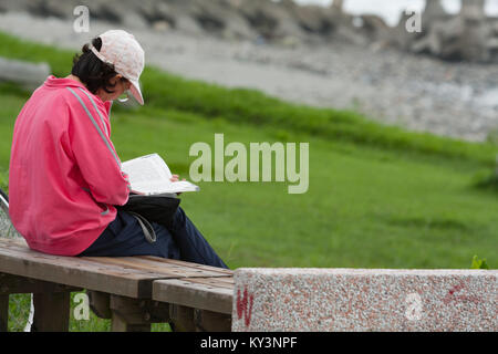 Female adult with kepi sits on wooden bench and reads a book at park along seashore, Hualien City, Hualien County, - Stock Photo