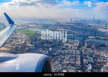Aerial view of Dubai from airplane - Stock Photo