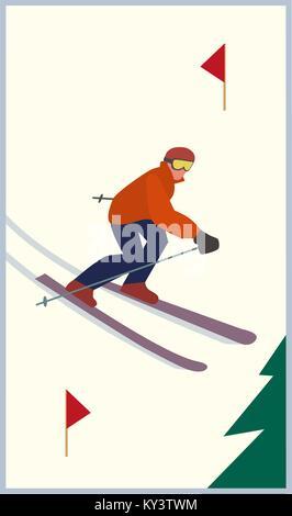 Mountain skiing icon - Stock Photo