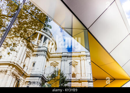 Amazing reflection of St Paul's Cathedral, London. - Stock Photo
