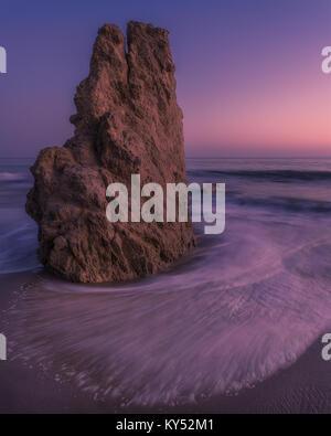 Rock Formation at Sunset, El Matador State Beach, Malibu, CA - Stock Photo