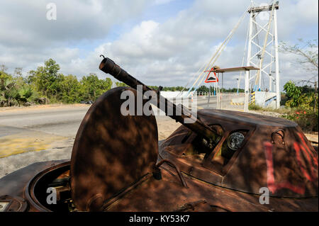 ANGOLA, road from Sumbe to Luanda,  wreck of soviet battle wagon from civil war between UNITA and MPLA 1975-2002 - Stock Photo