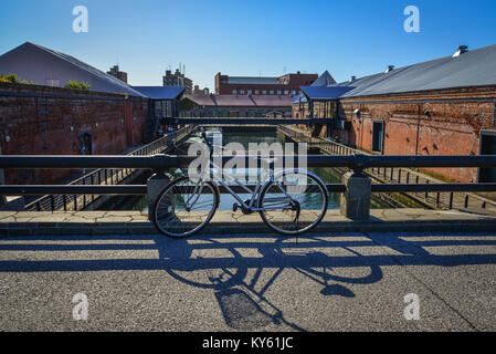 Hakodate, Japan - Oct 1, 2017. A bicycle parking at old town in Hakodate, Japan. Hakodate  is one of the main cities - Stock Photo