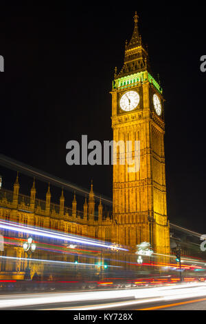 Elizabeth Tower (a.k.a 'Big Ben') at night. - Stock Photo