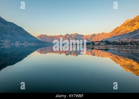 Nice sunset of Kotor Montenegro - Stock Photo