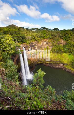 The famous Wailua Falls in Kauai, Hawaii. - Stock Photo