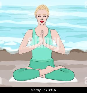 Yoga pose, woman meditating in a lotus pose, vector drawing portrait. Meditation relaxation cartoon girl sitting - Stock Photo