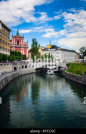 Ljubljana city view with Ljublianica river,Slovenia - Stock Photo