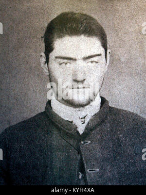 Ned Kelly, outlaw Ned Kelly, Mugshot of Ned Kelly taken at Pentridge after his transfer from the Beechworth Gaol - Stock Photo
