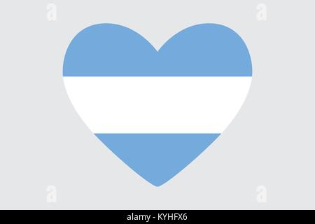 Heart in colors of the Argentine flag, vector - Stock Photo