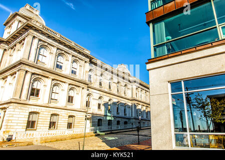 Portland, Main downtown buildings old and modern. Vertical - Stock Photo