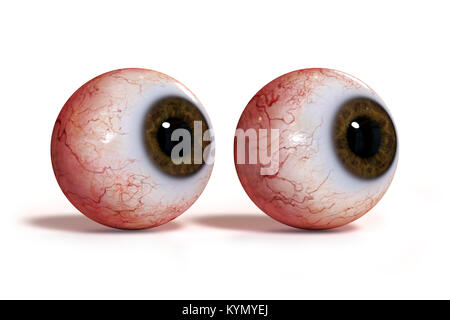 two realistic human eyes with brown iris, isolated on white background (3d render) - Stock Photo