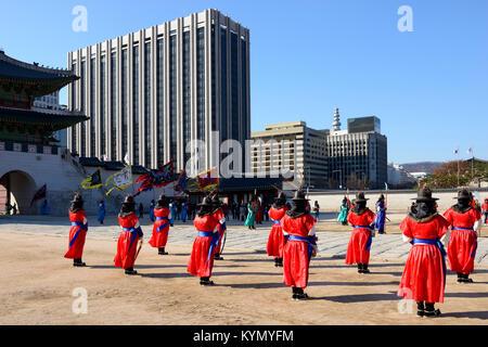 Changing of the royal guard at Gyeongbokgung Palace,Jongno-gu, Seoul - Stock Photo
