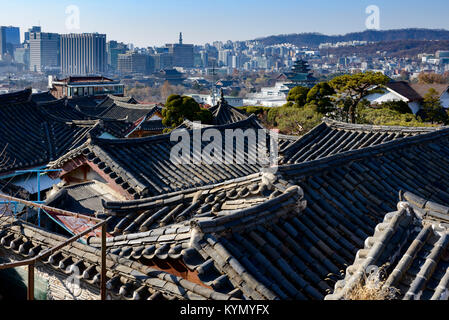 View from Bukchon Hanok village towards Gyeongbokgung Palace,Bukchon Hanok Village, Jongno-gu, Seoul - Stock Photo