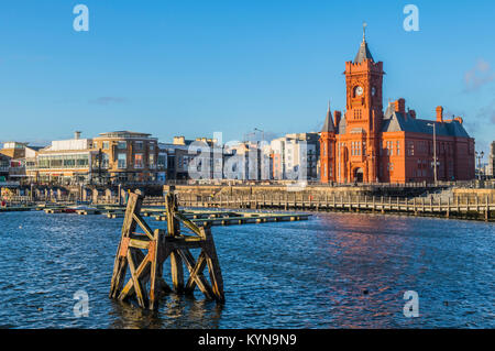 The Cardiff Bay Waterfront and Pierhead Building Cardiff south Wales - Stock Photo