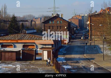 Old market street in Siemianowice, Upper Silesia, Southern Poland - Stock Photo