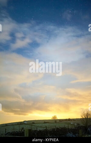 Stormy night sky by Priddy in Mendip, Somerset UK - Stock Photo