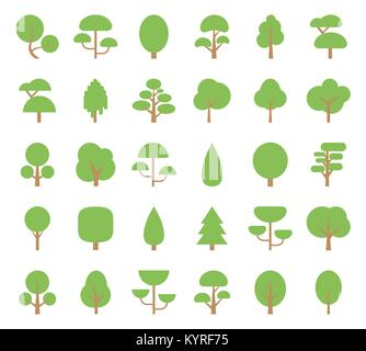 Set Flat Trees in a Flat Design. Isolated on White Background. Vector Icons. - Stock Photo
