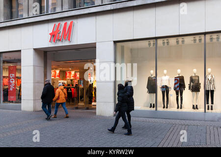 Europe, Germany, Cologne, display window of a H&M store at the street Schildergasse.  Euroa, Deuschland, Koeln, - Stock Photo