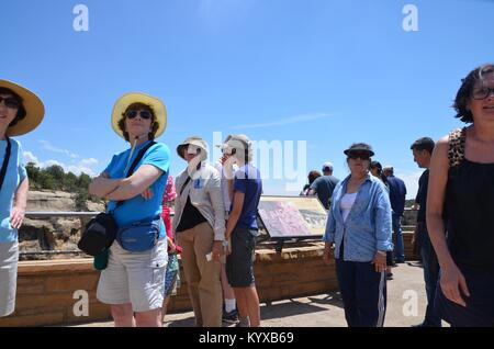 tourists at the cliff dwellings Mesa Verde National Park colorado USA - Stock Photo