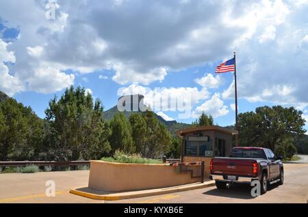the entrance booth to Mesa Verde National Park colorado USA - Stock Photo