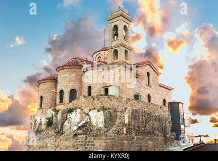View of the Orthodox Church of Panagia Theoskepasti seventh century, Paphos, Cyprus. - Stock Photo