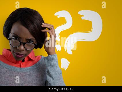 Confused woman wearing glasses scratching her head and question points - Stock Photo