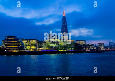 City Hall and The Shard, Embankment / River Thames, London - Stock Photo