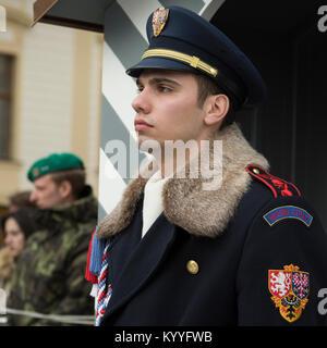 Castle guard on duty at Prague Castle, Prague, Czech Republic - Stock Photo