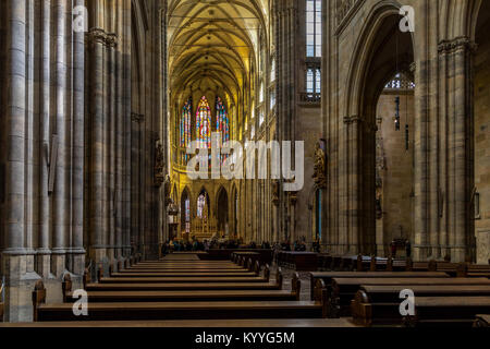 The Cathedral nave and sanctuary of St Vitus Cathedral in Prague , located within Prague Castle, Czech Republic - Stock Photo