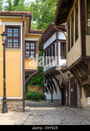 Houses, in the National Revival style, in the Old Town, Plovdiv, Bulgaria, Europe - Stock Photo