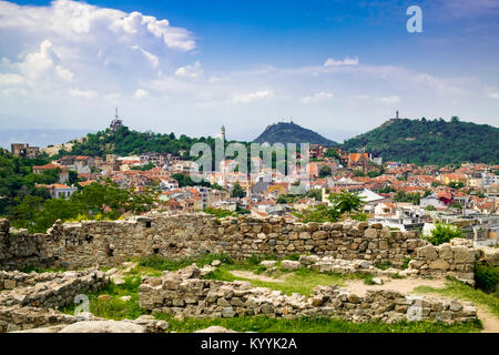 Plovdiv, Bulgaria, Europe - view of the Old Wall and Plovdiv city skyline - Stock Photo