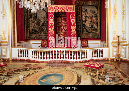 CHAMBORD, FRANCE - JULY 7, 2010: Louis XIV ceremonial bedroom in castle Chateau de Chambord. Chambord is the largest - Stock Photo