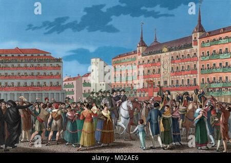 Spain. Madrid. Ferdinand VII (1784-1833) is proclaimed king of Spain in absentia on 24 August, 1808 in the Main - Stock Photo
