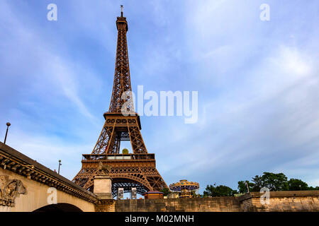 PARIS, FRANCE - CIRCA JUNE 2014: View of Eiffel tower from Seine - Stock Photo