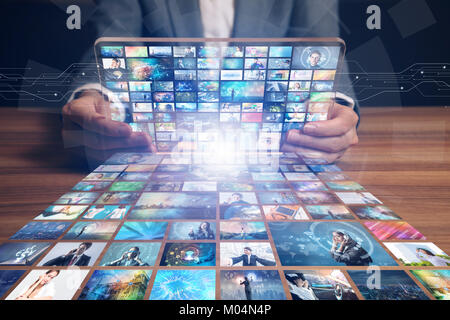 video hosting website. movie streaming service. digital photo album. - Stock Photo