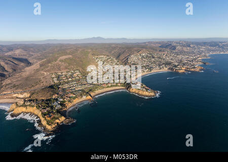 Aerial view of the Laguna Beach coastline in Orange County, California. - Stock Photo