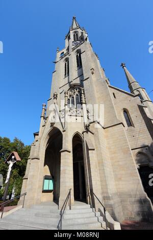 Katowice, Upper Silesia region in Poland. Saint Mary's Church. - Stock Photo