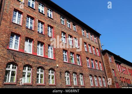 Katowice, Upper Silesia region in Poland. Architecture in historic Nikiszowiec district. - Stock Photo
