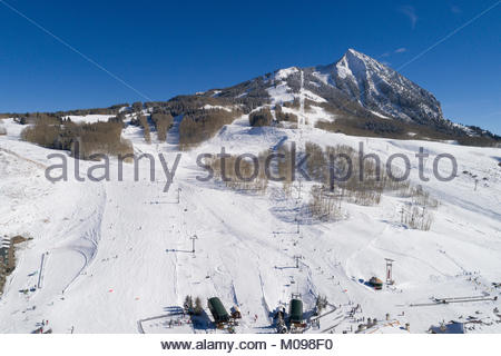 Crested Butte Mountain Resort ski area in western Colorado on a perfect winter day. - Stock Photo