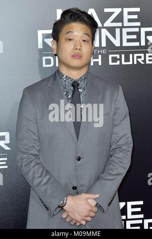 Century City, California. 18th Jan, 2018. Ki Hong Lee attends the fan screening of 20th Century Fox's 'Maze Runner: - Stock Photo