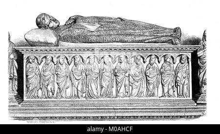 The marble sarcophagus from the VII. In Campo Santo to Pisa, Italy, digital improved reproduction of an original - Stock Photo