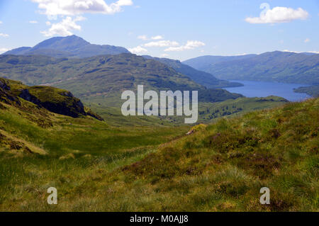 The Scottish Mountain Munro Ben Lomond and Loch Lomond from the Corbett Beinn a Choin in the Scottish Highlands, - Stock Photo