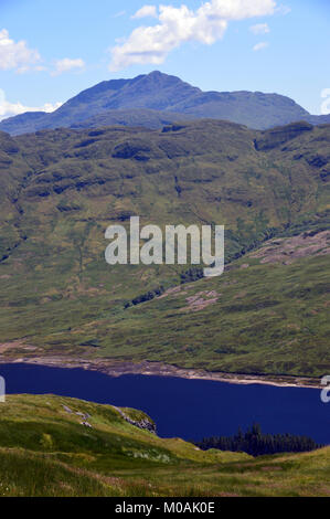 The Scottish Mountain Munro Ben Lomond and Loch Arklet in Glen Arklet from Stob an Fhainne in the Scottish Highlands, - Stock Photo