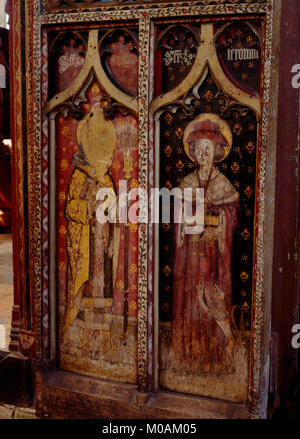N half of C15th rood screen door in St Agnes' Church, Cawston: Flemish paintings of St Gregory dressed as the Pope - Stock Photo